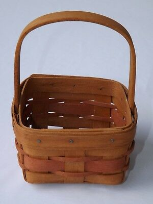 "Old Vtg. Small Longaberger Basket 1991 Handwoven Approx. 4"" by 4"" by 2-1/2"" Deep"