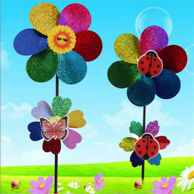 Kids Toy Colorful Sequins Windmill Wind Spinner Home Garden Yard Decoration E&F