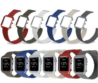 For Apple Watch Series 4 40/44mm Genuine Leather Loop Strap Magnetic Wrist Band