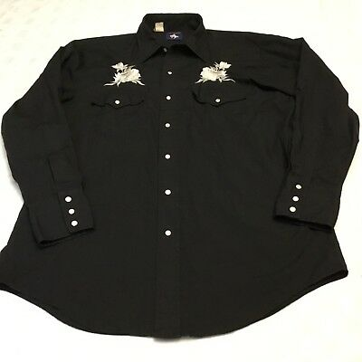 Chute #1 Men's Cowboy Western Vintage Embroidered Pearl Snap Shirt Black Flower