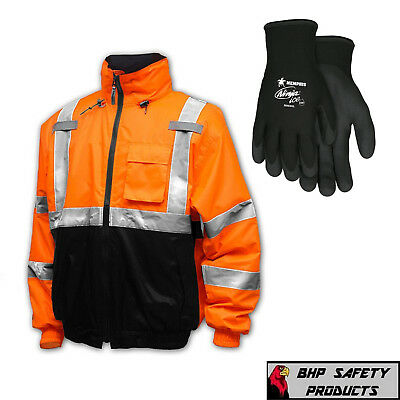 Hi-Vis Insulated Safety Bomber Reflective Jacket with Winter Weather Work Gloves