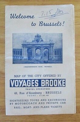Vintage Brussels Belgium Tourist Map of City by Voyages Brooke 1960's?