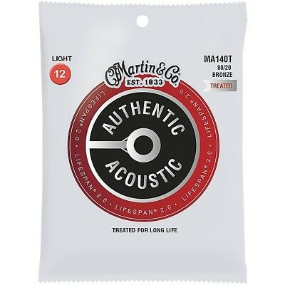 Martin MA140T Lifespan 2.0 80/20 Bronze Light Authentic Acoustic Guitar Strings