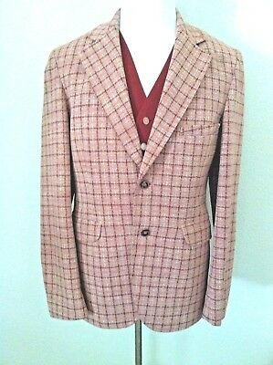 Vintage 60s 70s sports coat suit jacket pink red check reversible vest