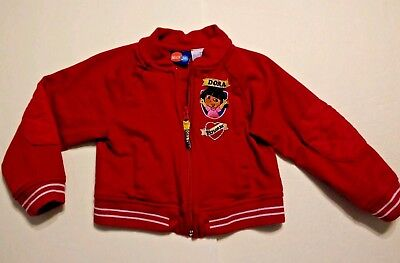 Dora the Explorer Girls Jacket Size 3T 3 Red Zip Light Spring Cotton Fall Patch