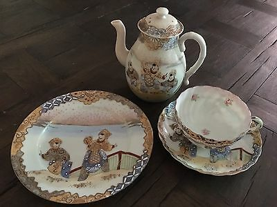 Antique Meiji Era Japanese Satsuma Style Teapot & Tea Cup Trio Signed Shimamura