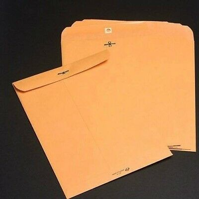 "10"" x 13"" Gummed Brown Kraft Mailing No Tax New 100 #97 Clasp Manila Envelopes"