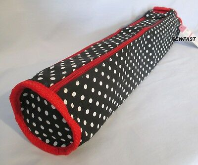Knitting Needle Holder Case Bag / Black with White Polka Dots / Red Trim