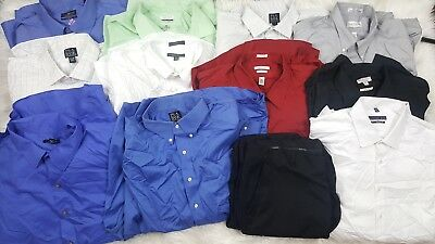 Mens Clothing Lot Of 11 Dress Shirts 1 Pant Size 18 to 18 1/2 Resell Mixed Brand