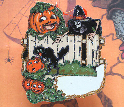 Glittered Wooden Halloween Ornament~Cat Stealing Pumpkin~Vintage Card Image~