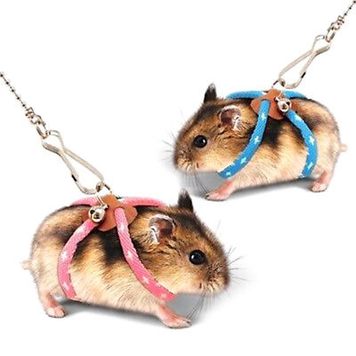 Pet Rat Mouse Hamster Ferret Adjustable Harness Lead Leash Collar Pink & BlueGY