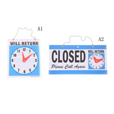 OPEN CLOSED Sign / WILL RETURN+CLOCK : Business Hours —Hanging 2-Side Ln