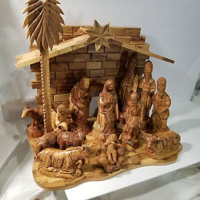 Large 15-Piece Hand Carved Olive Wood Nativity Set Made Holy Land
