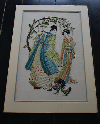 Vntg Pat Zitomer Embroidery Oriental Geishas Wall Hanging Crewel
