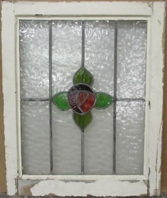 "MID SIZED OLD ENGLISH LEADED STAINED GLASS WINDOW Awesome Floral 22"" x 27.25"""