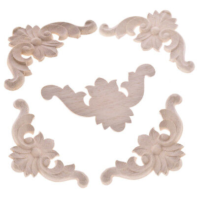 5Pcs Unpainted Wood Oak Carved Corner Onlay Applique Furniture Moulding Decor