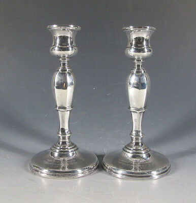 Antique Pair Mappin & Webb English Sterling Silver Candlesticks Inscribed NR yqz