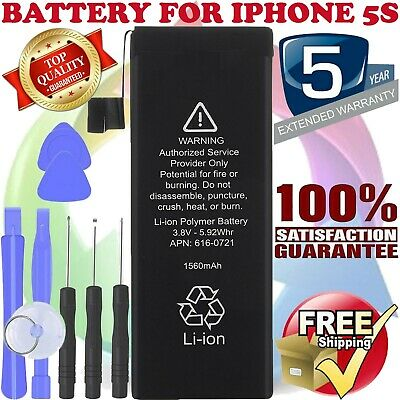 NEW iPhone 5S Replacement Battery 616-0720 1560mAh with FREE TOOLS