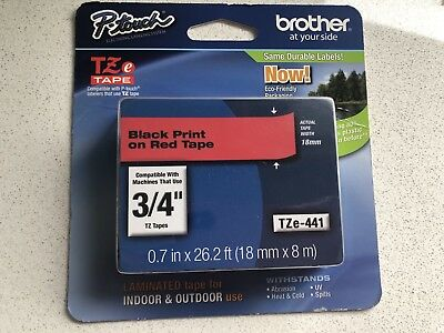 NEW TZE242 P-Touch TZe Laminated Tape Label Black on Red