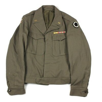 Original Ww2 Us Army Ike Jacket - Rare 1944 Brown Color 1St Corps 6Th Army Patch