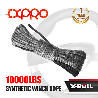 X-BULL 10000LBS 4WD 1/4''x50' Synthetic Winch Rope Line Recovery Cable Grey