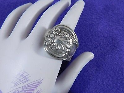 Vintage Spoon Ring Silver Tone Weighty