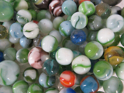 Estate! Antique Vintage Collection (115+/-) Agate Green White Glass Marbles yqz