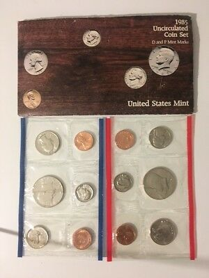 1985 US Mint 10-Coin Uncirculated Mint Set in Envelope w/ COA