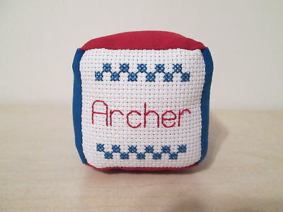 New Baby Girl Boy Personalized Name Block Soft Fabric Toddler Toy Cross Stitch