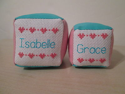 Twins Baby Gift Set of 2 Personalized Name Blocks Soft Fabric Toy Cross Stitch