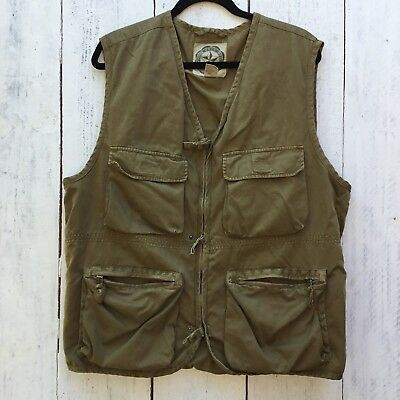 Vintage Banana Republic Mens L Green Military Hunting Hiking Cotton Vest