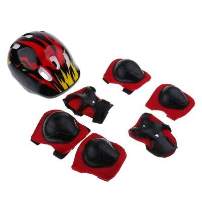 7 Pieces Kids Children Roller Skating Scooter Bicycle Helmet Knee Elbow Wri E3I8