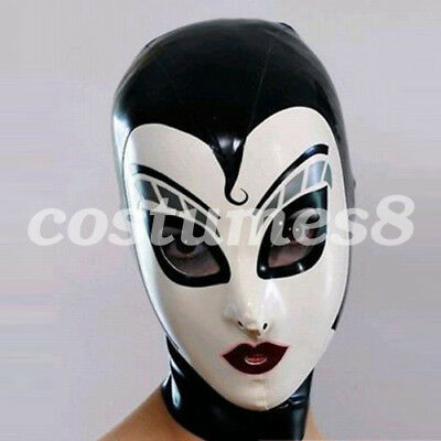 Latex 100% Rubber White with Black Mask Masque Fashion Mask   S-XXL