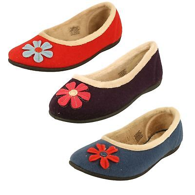 Padders Happy Ladies Slip On Flat Wide Fit Warm Winter Indoor Ballerina Slippers