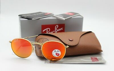 New Ray-Ban RB3447 112/4D Gold/Red Flash Polarized Round Sunglasses 50mm