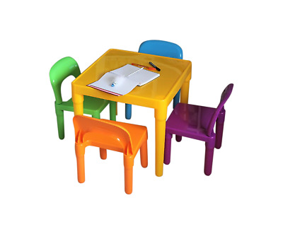 Table Chairs Set Large Childrens Plastic - Kids Toddlers Childs -School Desk