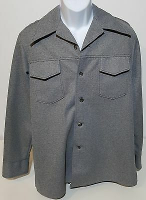 Farah Time Out VTG 70s Gray Leisure Suit Button Down Shirt Mens L USA Made