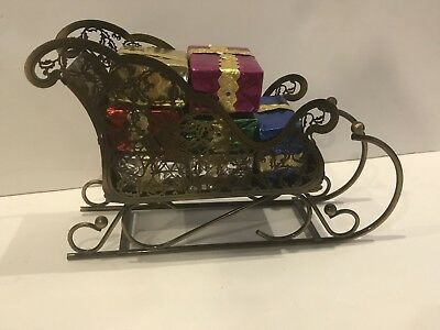 Bronze Metal Santa Filagree Sleigh With Wrapped Gifts Inside