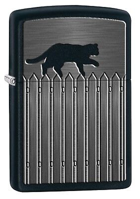 Zippo Lighter: Cat On A Picket Fence - Black Matte 78042