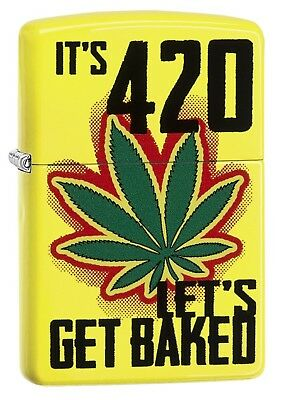Zippo Lighter: Weed Leaf, It's 4:20 Let's Get Baked - Neon Yellow 79017