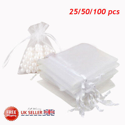 25/50/100X Large Organza Favour Pouches Gift Bag Voile Net Bags Drawstring UK