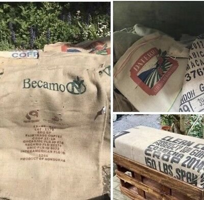 Used Coffee Sacks x 10 - Jute / Hessian - Use for Upholstery / Craft / Storage