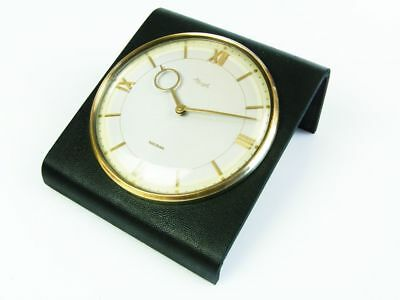 Rare Later Art Deco Bauhaus Deskclock With Darkness Green Leather  Kienzle