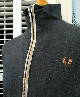 Fred Perry Charcoal Bold Tipped Zip-Thru Cardigan - L/XL - Ska Mod Scooter Skins
