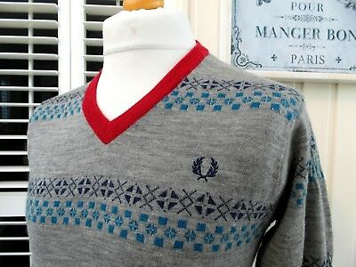 Fred Perry Grey Fair Isle Wool V-Neck Jumper - M - Ska Mod Scooter Casuals Rare