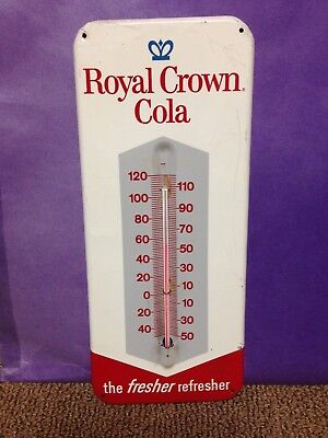 Vintage 1960s Royal Crown RC soda thermometer tin sign