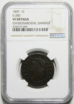 1809 Classic Head Large Cent S-280 NGC 4706727-009 VF Details