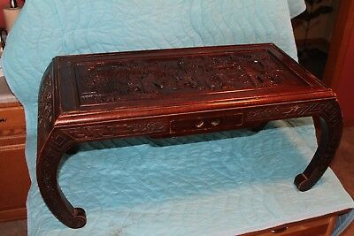 Vintage Asian / Oriental Hand Carved Coffee Table With Drawer Nice Detail