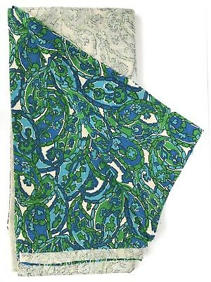 Vintage Mid Century Modern Fabric 1950s 1960s  Green Blue Pattern Abstract