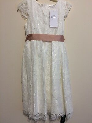 Girls Bnwt Marks And Spencer Ivory Bridesmaid Dress Age 5-6 Beautiful